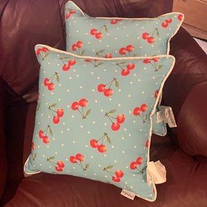 Set of 2 Cherry  Accent Pillows 16 X 16 Polka Dot